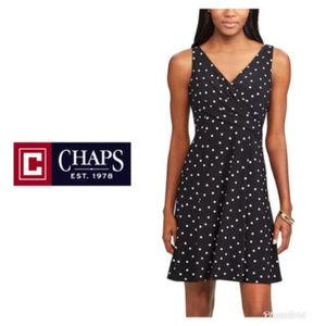Chaps Womens Dress Black White Polka Dot Sz XL NWT